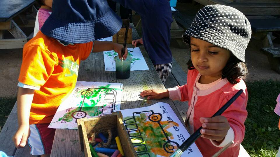 Busy Painting with Dye and Crayons